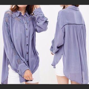 Free People Katie Bird Crochet Blue Shirt